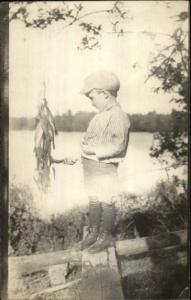 Boy Admiring Fishing Catch c1910 Amateur Real Photo Postcard