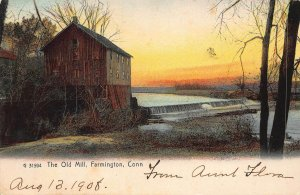 The Old Mill, Farmington, Connecticut, early postcard, used in 1908