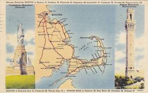 Forefather Monument, Plymouth, Pilgrim Monument, Provincetown, Map, PU-1951