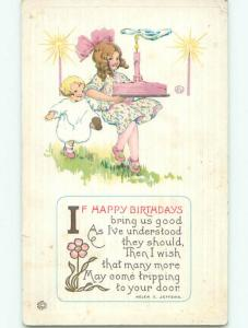 Pre-Linen HELEN JEFFERS QUOTE - CUTE GIRL CARRIES BIRTHDAY CAKE k7255