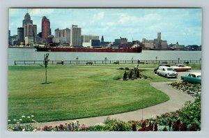 Windsor Ontario- Canada, Dieppe Gardens, Detroit River & Skyline Chrome Postcard