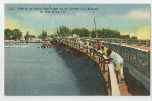 Postcard ~St Petersburg Fl ~ Madeira Beach ~  John's Pass Fishing Boca Ceiga Bay