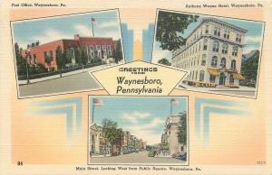 Waynesboro PA Art Deco~Post Office~Anthony Wayne Hotel~Main Street~1940s PC