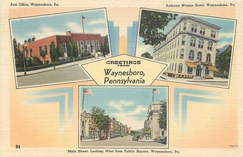 Waynesboro Pa Art Deco Post Office Anthony Wayne Hotel Main Street 1940s