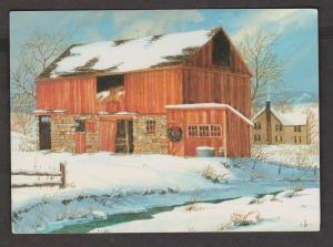 Folded Greeting Card Barn & House In Winter - Used