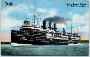 D&C Navigation Co. Steamship Postcard STEAMER GREATER DETROIT Kropp Linen 1940s