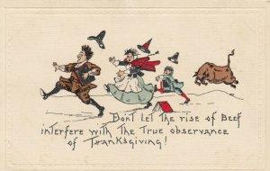HBG ; Thanksgiving , 1900-10s; Bull chasing pilgrim family