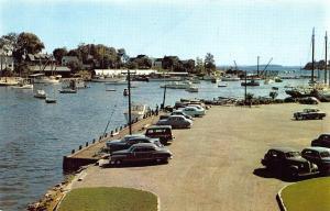 Camden Harbor ME Public Landing Old Cars Postcard