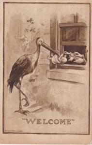 Birth Stork Delivering Baby To Waiting Hands In Window 1909
