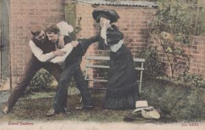 Rival Soldiers Judo Fighting Antique Military Postcard