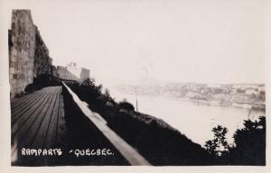 Quebec Ramparts Canada Old Real Photo Postcard