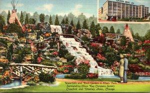 Illinois Chicago Olson Rug Company Waterfalls & Rock Garden In Olson Park 194...