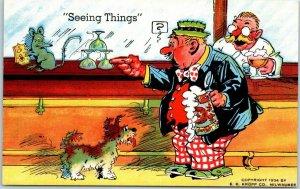 Vintage RAY WALTERS Comic Postcard Seeing Things Beer / Dog KROPP Linen #10566