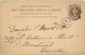 Entier Postal Stationery Postal Britain Great Britain to Montreal in 1891