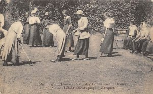 Birmingham UK Hospital, Patients Playing Croquet writing on back