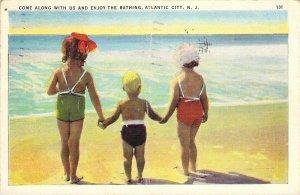 Atlantic City NJ New Jersey 1937 Children Bathing Beach Swimsuits Linen