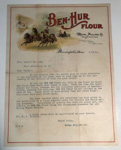 1906 Ben Hur Flour ROYAL MILLING Company Minneapolis MN Horse Color Letterhead