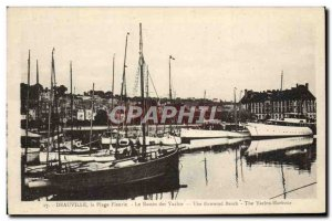 Old Postcard Deauville flowered beach Yacht Basin Boat