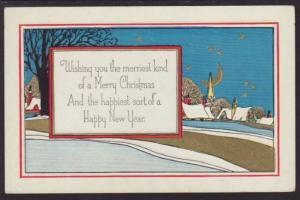 A Merry Christmas,Town Postcard