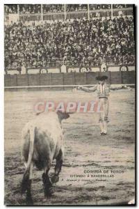 Old Postcard Bullfight Bullfight citando has banderillas