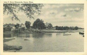 Essex Massachusetts John P. Story Shipyards Tichnor 1940s RPPC Postcard 12960