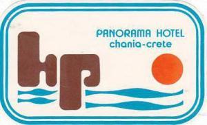 GREECE CRETE CHANIA PANORAMA HOTEL VINTAGE LUGGAGE LABEL