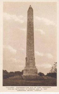 Virginia Jamestown Monuument Commemorating Site Of First Permanet English Set...