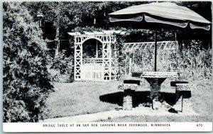 Deerwood, Minnesota Postcard Ak-Sar-Ben Gardens Bridge Table c1950s Unused