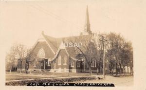 C46/ Clay Center Kansas Ks Real Photo RPPC Postcard c1920 M.E. Church Building