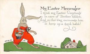 EB Weaver~Fantasy Easter~Dressed Rabbit~Drawstring Orange Pants~Ser 2342
