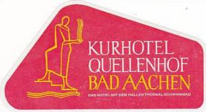 GERMANY BAD AACHEN KURHOTEL QUELLENHOF VINTAGE LUGGAGE LABEL