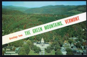 Vermont SplitView Greetings from THE GREEN MOUNTAINS State Capitol Scenic Chrome