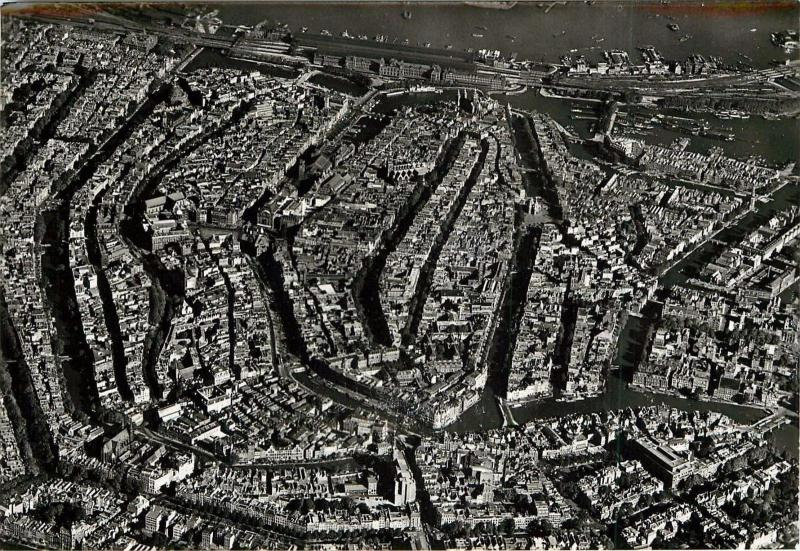 Amsterdam Netherlands aerial view canal system RPPC Postcard