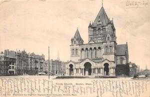 BOSTON MASSACHUSETTS TRINITY CHURCH UDB NEW ENGLAND NEWS POSTCARD c1904