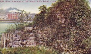 Illinois Rock Island old Stone Abutment Of Old Bridge