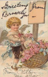 Angel trying to lift huge basket of pink roses, Gold detail, Greeting form B...