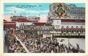 Boardwalk View Near Steeplechase Pier Atlantic City NJ 1930 GM W-Border Postcard