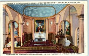 Vincennes, Indiana Postcard Interior of the Old Cathedral Linen c1940s Unused