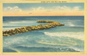 Stone Jetty and Rolling Waves, unused linen Postcard
