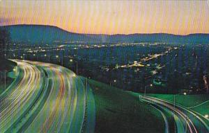 Twilight Scene Showing Interstate Highway Entering Chattanooga Tennessee