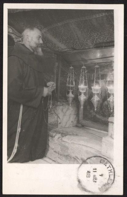 Egypt N11 on 1948 monk praying at Holy Manger in Bethlehem real photo post card