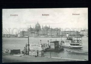 213553 HUNGARY BUDAPEST ships ADVERTISING Vintage postcard