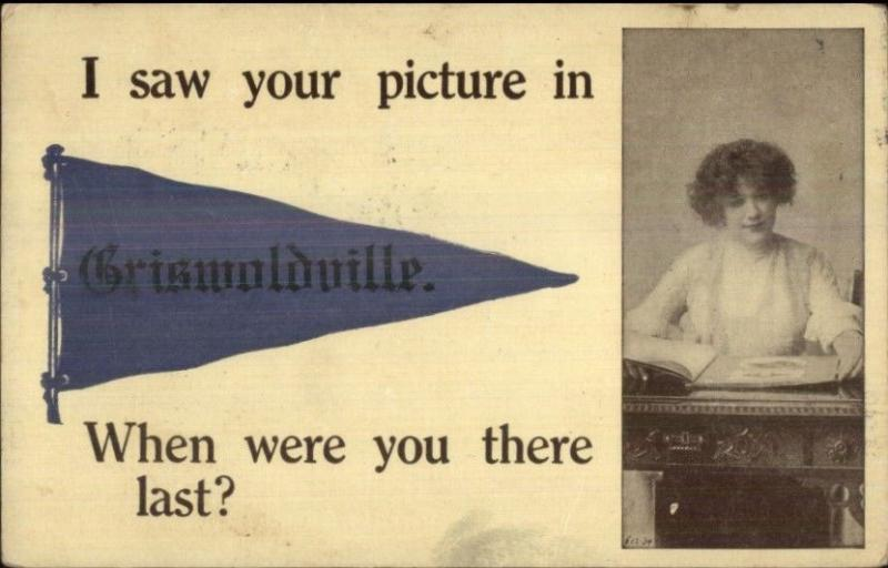 Griswoldville MA Pretty Lady Pennant Greeting c1910 Postcard
