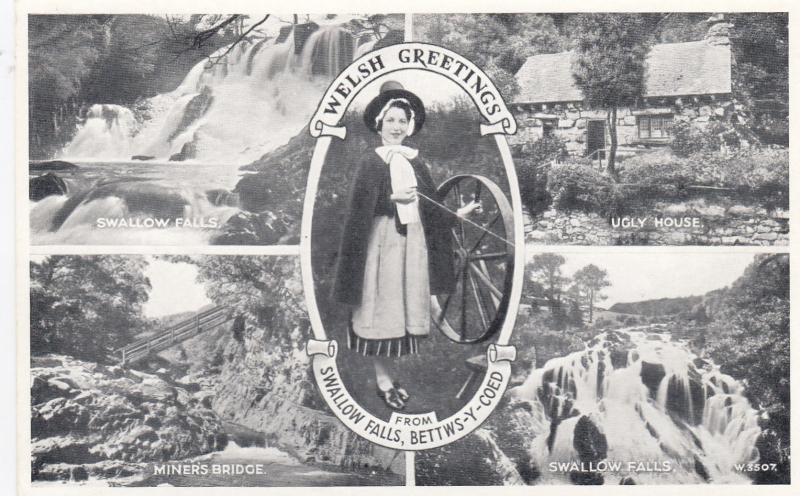 BETTWS-Y-COED, Wales, UK, 30-40s; Welsh Greetings from Swallow Falls, 5 scenes