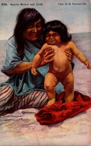 Apache Indian Mother With Naked Child