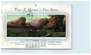 18137   NY Cortland   Thos. F Hernon Fine Shoes August Calander