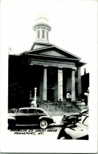 Vtg RPPC 1940s Frankfort Kentucky KY Franklin County Court House UNP Ext w Cars