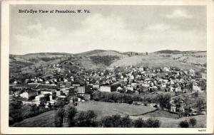 Pennsboro West Virginia~Birdseye Panorama~Winding Road~Downtown~Homes~1939 B&W
