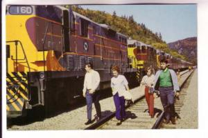 People Walking on Tracks Beside Train, Algoma Central Railway, Ontario