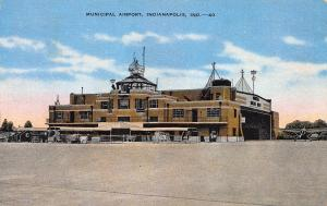 Municipal Airport, Indianapolis, Indiana, Early Linen Postcard, Used